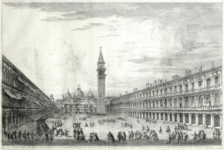 Michele Marieschi-Piazza San Marco verso La Basilica; Il Canal Grande a Ca' Pesaro-1741