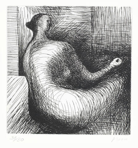 Henry Moore-Seated Figure with architecture background-1980