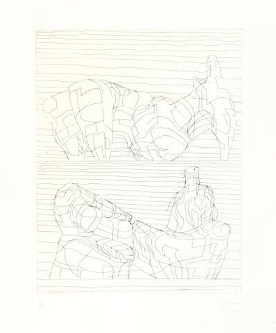 Henry Moore-Two Reclining Figures Linear-1969