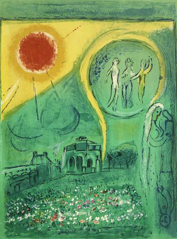 Marc Chagall-Le Carrousel du Louvre, from Derriere le Miroir plate-1954