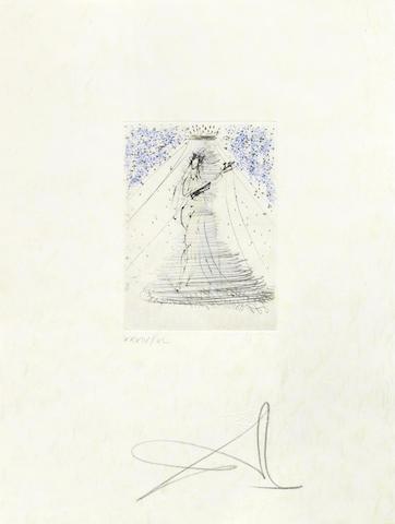 Salvador Dali-Petits Nus Ronsard, from Actes Nues 8 folio-1974