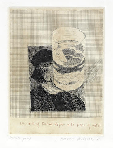 David Hockney-Postcard of Richard Wagner with a Glass of Water, from '18 Small Prints'-1973