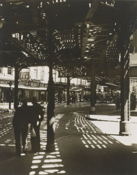 Berenice Abbott-El' 2nd And 3rd Avenue Lines: Bowery And Division Street, Manhattan-1936