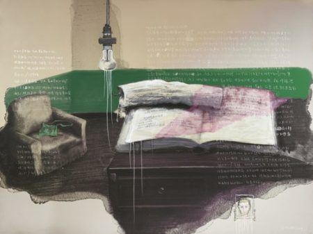 Zhang Xiaogang-Green Wall: Study Room No. 1-2009