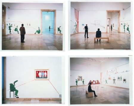 David Hockney-Four Works: (I) Two Walls With Corner; (Ii) Melancholy Punchinello; (Iii) Punchinellos With Helpers In Two Galleries; (Iv) Looking At Punchinellos Entering A Room + Picture-1995