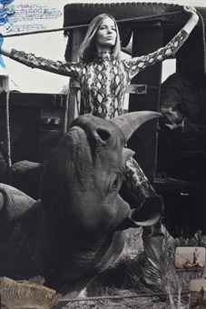 Peter Beard-Veruschka von Lehndorff for Vogue, Rhino Roping with Galo Galo-1964