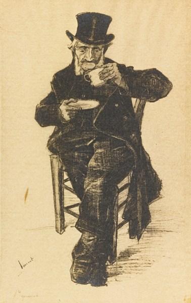 Vincent van Gogh-Pensioner Drinking Coffee (Van Heugten/Pabst 4)-1882