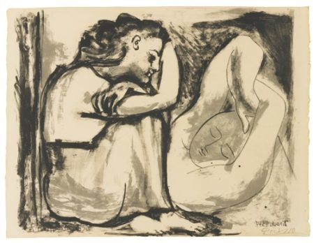 Pablo Picasso-Femme Assise Et Dormeuse (Bloch 455; Mourlot 104; Picasso Project 104)-1947