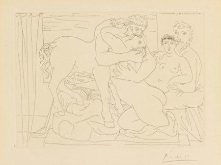 Pablo Picasso-Le Repos Du Sculpteur Devant Un Centaure Et Une Femme (B. 167; Ba. 320)-1933