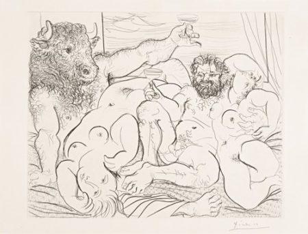 Pablo Picasso-Scene Bacchique Au Minotaure (B. 192; Ba. 351)-1933