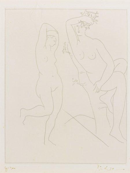 Pablo Picasso-Deux Femmes Nues, Dont Une Dans Un Arbres (B. 234; Ba. 204)-1931