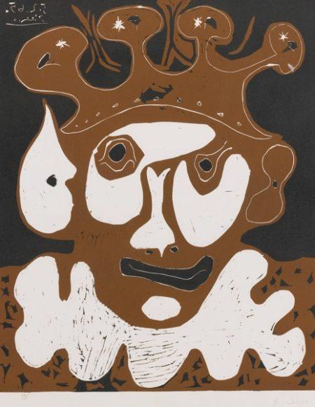 Pablo Picasso-Tete De Bouffon. Carnaval (B. 1193; Ba. 1356; Pp. L-182)-1965