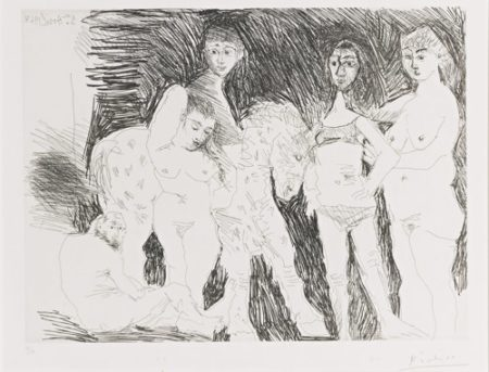 Pablo Picasso-Vieil Homme Pensant A Sa Jeunesse: Garcon Sur Un Cheval De Cirque Et Femmes (B. 1495; Ba. 1511)-1968