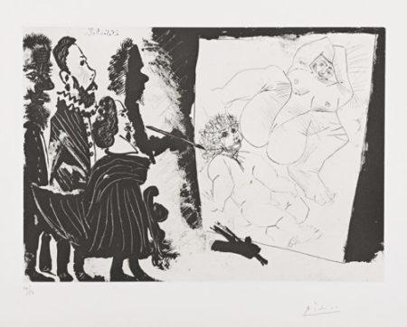 Pablo Picasso-Patron Et Sa Suite En Visite A L'Atelier Du Vieux Peintre (B. 1590; Ba. 1606)-1968