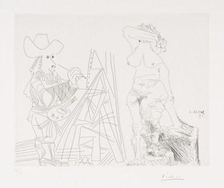 Pablo Picasso-Peintre Et Modele Qui Se Cache Le Visage (B. 1804; Ba. 1821)-1968