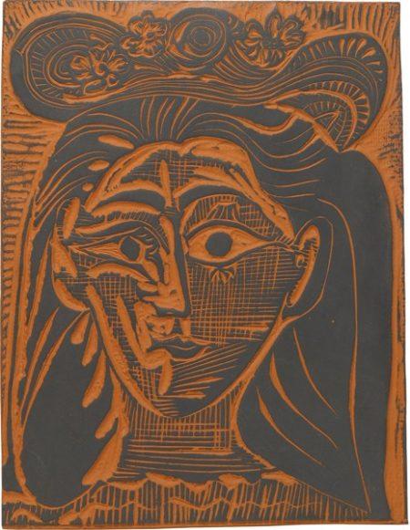 Pablo Picasso-Femme Au Chapeau Fleuri (A. R. 521)-1964