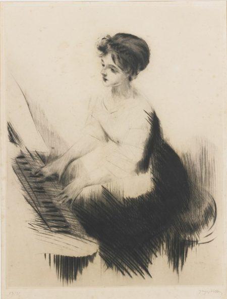 Jacques Villon-Jeune Femme Au Piano And Devant Un Guignol (Ginestet/Pouillon 237 And 241)-1909