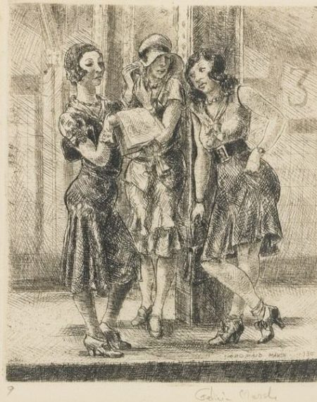 Reginald Marsh-Three Girls On Subway Platform (Sasowsky 92)-1930