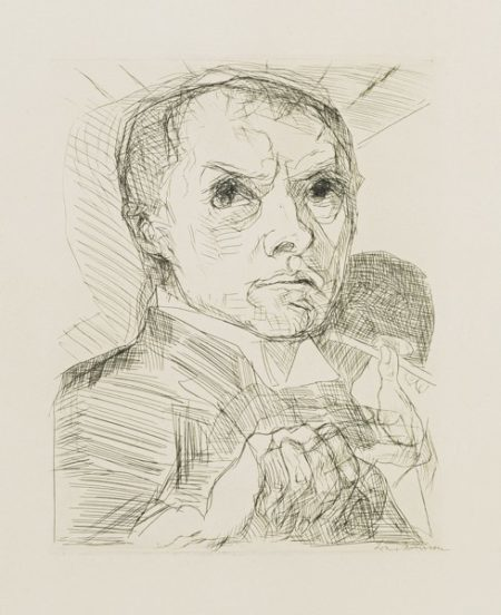 Max Beckmann-Selbstbildnis Mit Griffel (Hofmaier 105.Ii.B.B)-1916