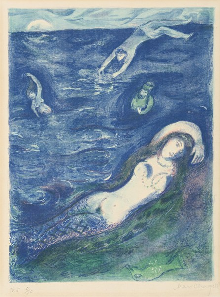 Marc Chagall-Four Tales From The Arabian Nights: So I Came Forth Of The Sea... (Mourlot 40; Cramer Bk. 18)-1948