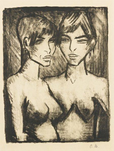 Zwei Madchen-Halbakte (Karsch 121.B)-1920