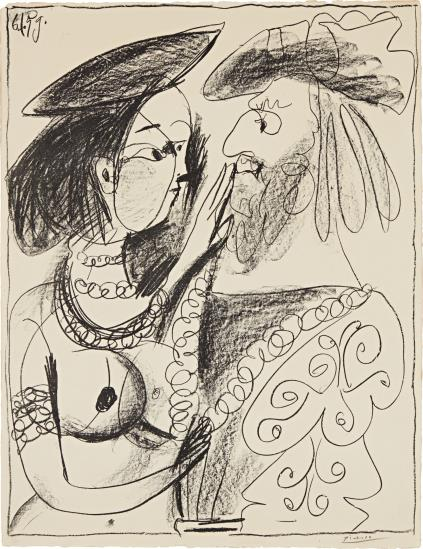 Pablo Picasso-Seigneur Et Fille (Lord And Girl)-1959