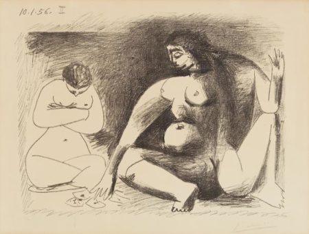 Pablo Picasso-Deux Femmes Accroupies (Two Seated Women)-1956