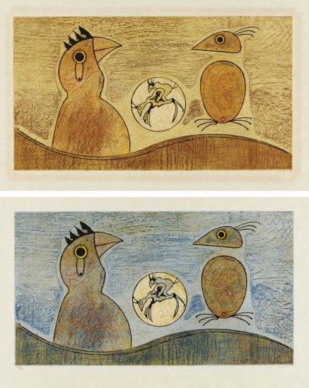 Max Ernst-Zwei Vogel: Two Plates-1975