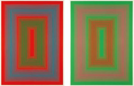 Richard Anuszkiewicz-Reflections Ii - Red Line; And Reflections Ii - Green Line-1979