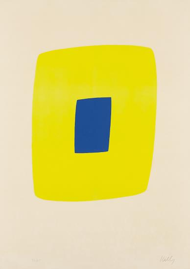 Ellsworth Kelly-Yellow With Dark Blue (Jaune Avec Bleu Fonce), From The Suite Of Twenty-Seven Color Lithographs-1965