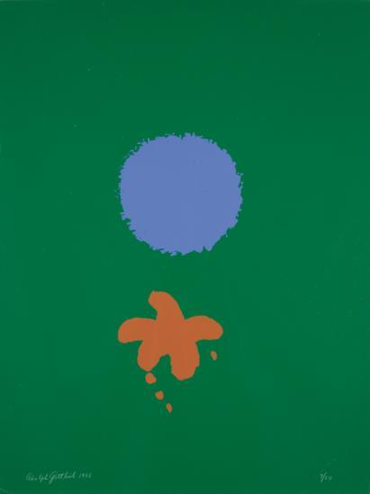 Adolph Gottlieb-Green Ground, Blue Disk-1966
