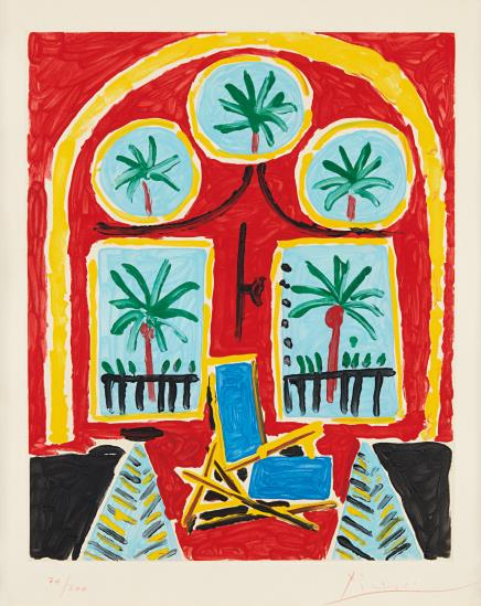 Pablo Picasso-After Pablo Picasso - Interieur Rouge Avec Un Transatlantique Bleu (Red Interior With Transatlantic Blue)-1959