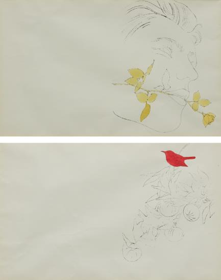 Andy Warhol-A Gold Book: Two Unfolded Plates-1957