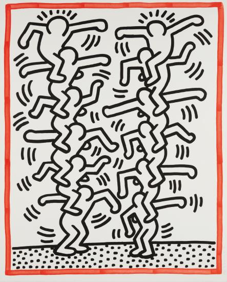 Keith Haring-Three Lithographs: One Plate-1985