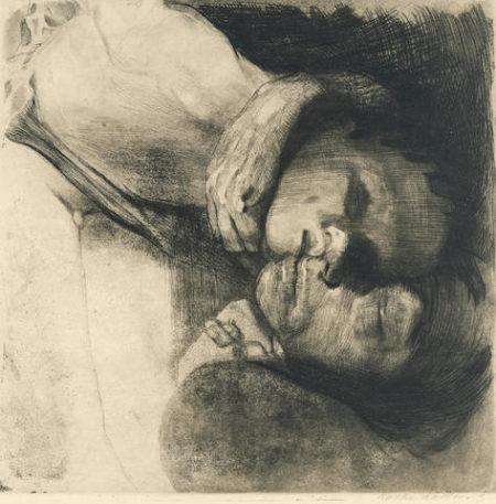 Kathe Kollwitz-Tod, Frau und Kind-1910