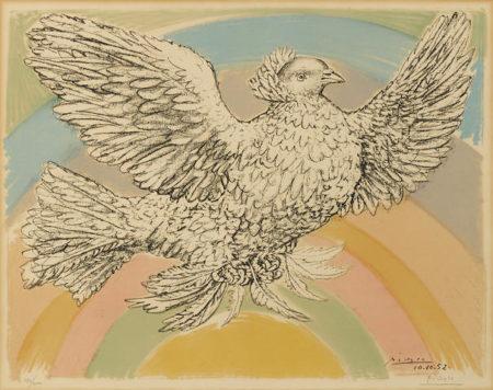 Pablo Picasso-Colombe Volant (a l'Arc-en-ciel)-1952
