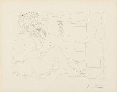 Pablo Picasso-Le Repos du Sculpteur devant le Petit Torse, pl. 53, from La Suite Vollard-1933