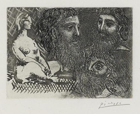 Femme nue assise et trois tetes barbues, pl. 25, from La Suite Vollard-1934