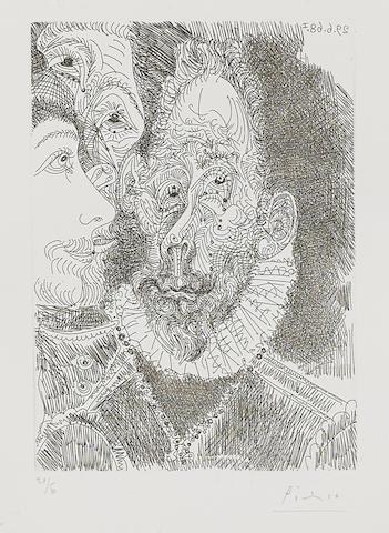 Pablo Picasso-Portrait-Charge d'un Personnage, en Larmes, Pl. 194, from Series 347-1968