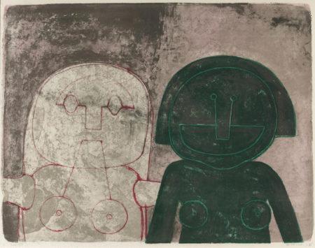 Rufino Tamayo-Dos Cabezas de mujer, from Mujeres-1969