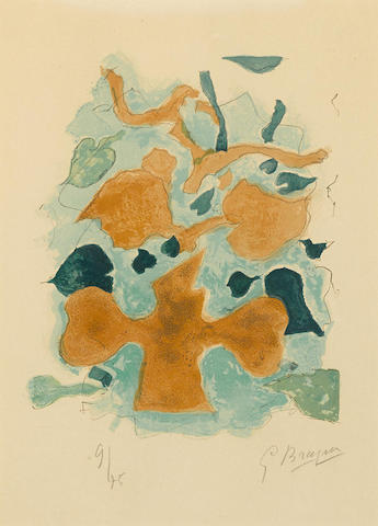 Georges Braque-La Foret, pl. 18, from Lettera Amorosa-1963