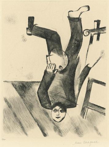 Marc Chagall-An der Staffelei, pl. 18, from Mein Leben-1923