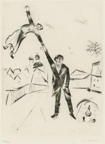 Marc Chagall-Der Spaziergang I, pl. 26, from Mein Leben-1923