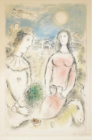 Marc Chagall-Couple at Dusk-1980