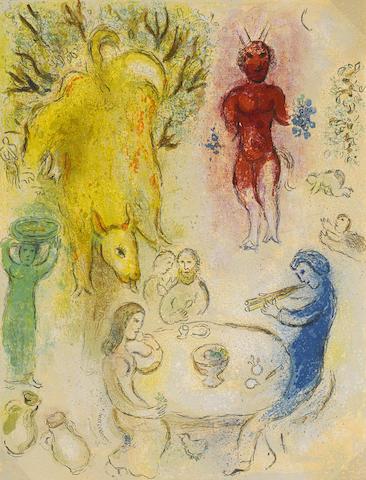 Marc Chagall-Banquet de Pan, pl. 23, from Daphnis et Chloe-1961