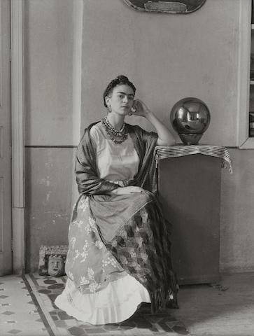 Manuel Alvarez Bravo-Frida Kahlo with Globe in Manuel Alvarez Bravo's Studio-1930