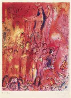 Marc Chagall-They were in forty pairs, thus numbering fourscore and their midst a young lady, riding on a horse, her face unveiled... , Plate 2 from Four Tales from Arabian Nights-1948