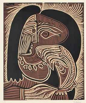 Pablo Picasso-Portrait de Jacqueline accoudee au collier-1959