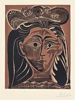 Pablo Picasso-Femme au Chapeau a Fleurs-1962