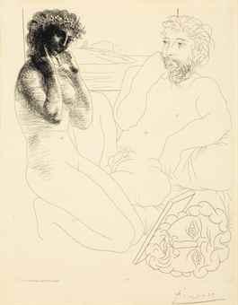Pablo Picasso-Sculpteur et Modele agenouille, from La Suite Vollard-1933